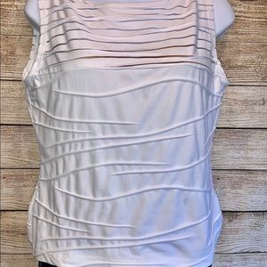 Anne Fontaine White Stripped Cutout Blouse Size 4